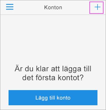 Tryck på tecknet + och logga in i Azure Authenticator-appen.