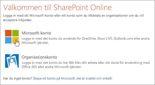 En skärmbild som visar inloggningsfönstret för SharePoint Online.