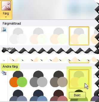 Klicka på Färg och under Ändra färg väljer du sedan Blekt