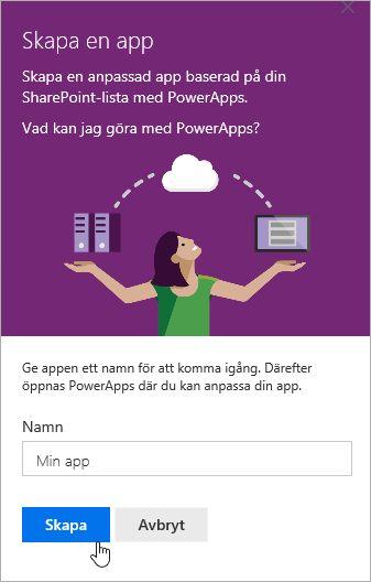 Lägga till namn för PowerApp och klicka sedan på Skapa.