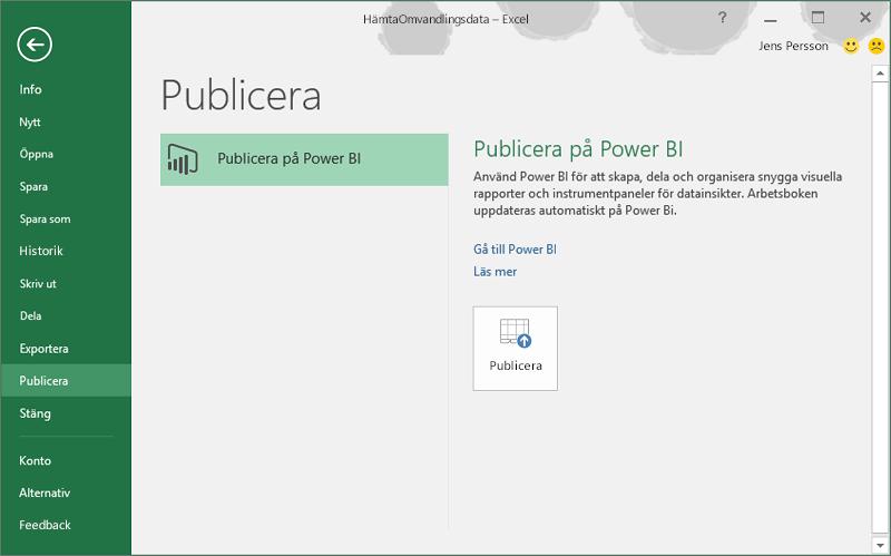Publicera på Power BI