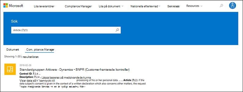Lita leverantörer – Sök på Compliance Manager kontroller