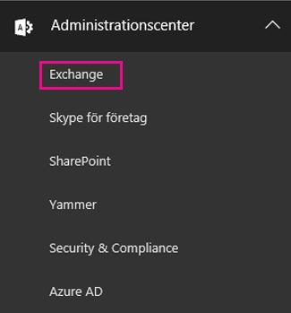 Gå till administratörscentret för Exchange.