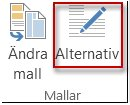 Knappen Mallalternativ i Publisher 2013