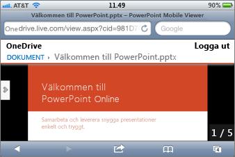 Bildspel i Mobile Viewer för PowerPoint
