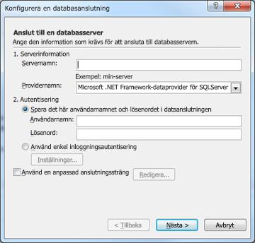 Dialogrutan Konfigurera en databasanslutning