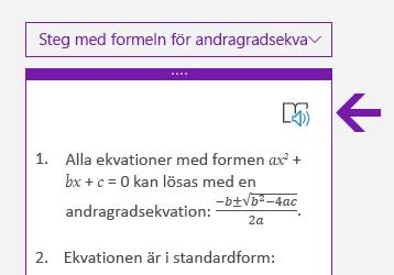 Ikon för Avancerad läsare i fönstret Matematik i OneNote för Windows 10
