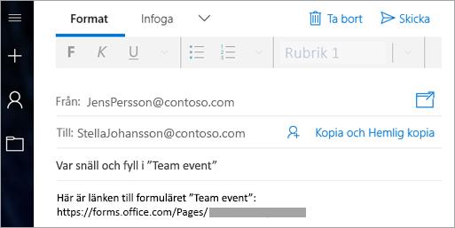 Skicka en länk till formuläret i ett e-postmeddelande