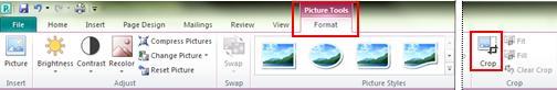 Flik för menyfliksområdet Format under Bildverktyg, beskärningskommando i Publisher