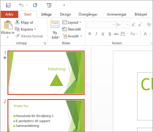 PowerPoint 2016 med temat Vit.