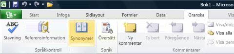 Synonymordboken på fliken Granska i menyfliksområdet i Excel