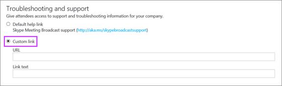 Skapa en anpassad felsöknings- och support-URL
