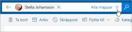 En skärmbild av knappen Filtrera i sökfältet