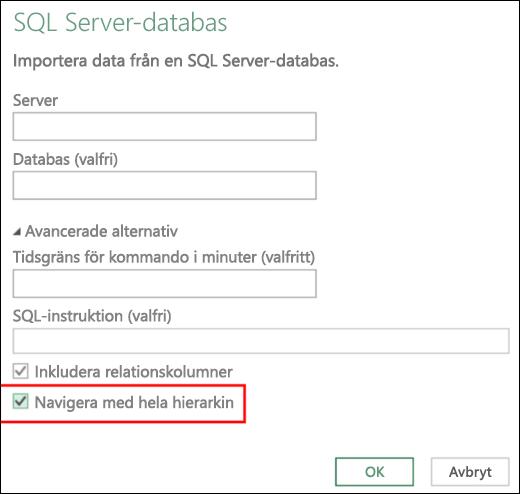 Excel Power BI – Förbättrade kopplingar till relationsdatabaser