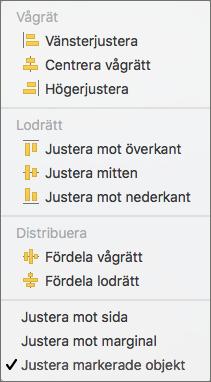 Om du vill justera objekt i förhållande till varandra väljer du Justera markerade objekt.