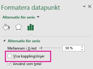 Åtgärdsfönstret Formatera datapunkt med rutan Visa kopplingslinjer avmarkerad i Office 2016