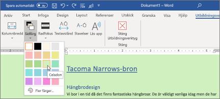 Ett Word-dokument med en grön bakgrund och väljaren för sidfärg