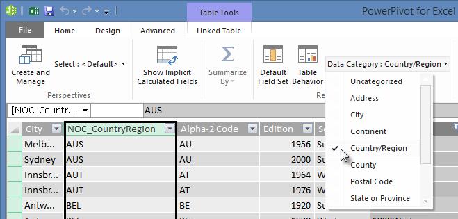 Datakategorier i Power Pivot