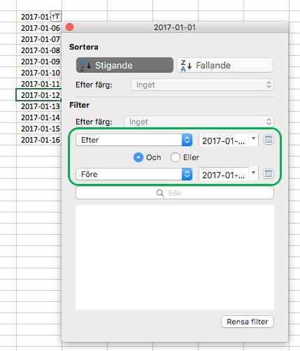 Filtrera datumvärden i Excel för Mac