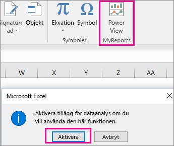Knappen Anpassad pivotvy och dialogrutan där tillägget aktiveras i Excel