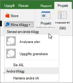 Skärmbild av fliken projekt i den delen Mina tillägg när markören är placerad bredvid den senast använda tillägg nedrullningsbara listrutan. Namnen på flera tillägg visas och du kan klicka på namnet så här startar du tilläggsprogrammet.