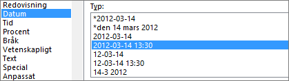 Dialogrutan Formatera celler, kommandot Datum, typen 2012-03-14 13:30