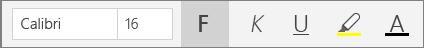 Knappar för textformatering i Start-menyfliksområdet i OneNote för Windows 10.