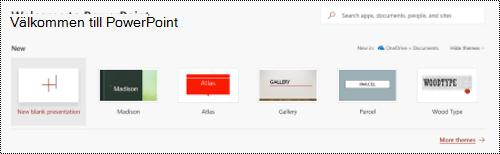 Välkommen till vy med mallar i PowerPoint Online.