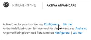 Välj Konfigurera bredvid Active Directory-synkronisering