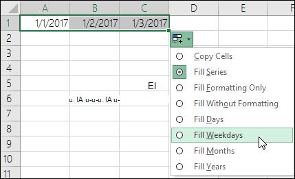 Använda fyllningshandtaget för att skapa en lista över löpande datum