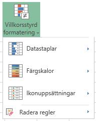 Menyn villkorsstyrd formatering i Excel Online