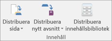 Ikonerna på fliken Anteckningsbok för klassen inkluderar Distribuera sida, Distribuera nytt avsnitt och Distribuera innehållsbibliotek.