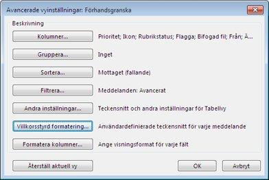 Dialogrutan Avancerade vyinställningar