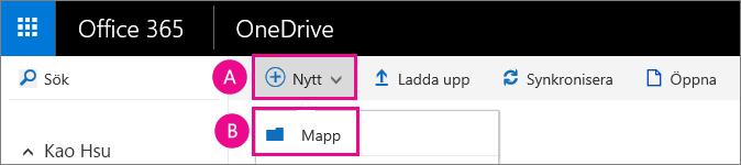 Skapa en ny mapp i OneDrive för företag.