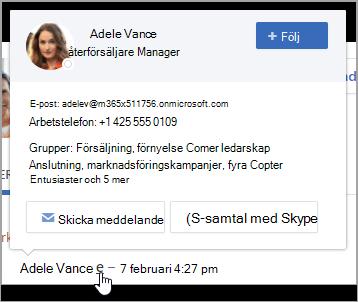 Hovercard, som visar användarens kontakt information och grupp medlemskap