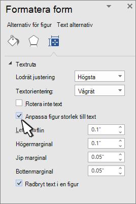 Formatera figur med formen ändra storlek för markerad text
