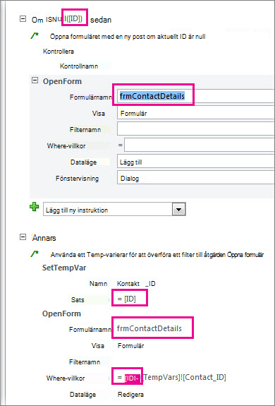 Ställen i exempelmakrot där du kan behöva ändra koden till identifierarnamnen i din databas.