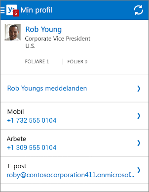 Profilsida i Yammer-appen