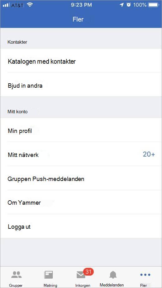 iOS Yammer-sida som visar fler alternativ