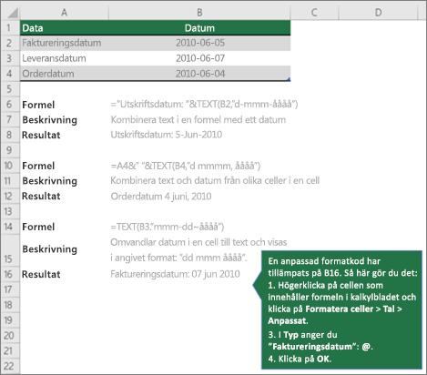 Exempel för att visa hur formler kan kombinera text med datum- och tidsvärden