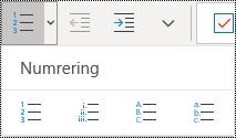 Numrerad lista-knappar i Start-menyfliksområdet i OneNote för Windows 10.