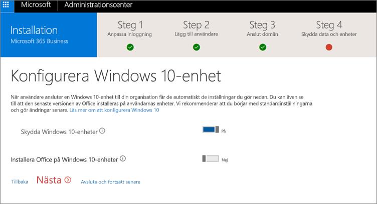 Skärmbild av sidan Förbered Windows 10-enheter