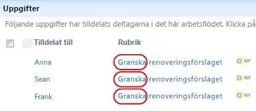 Texten Granska i uppgiftsnamn på statussidan