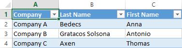 Excel-kalkylblad med tre dataposter i tre kolumner