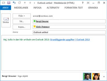 ändra hyperlänktext i ett e-postmeddelande