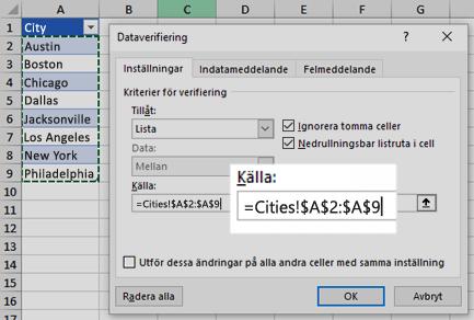 Alternativ för lista för dataverifiering