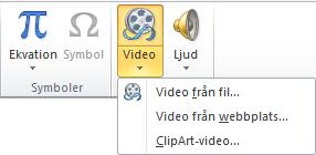 Knappen i menyfliksområdet för att infoga en onlinevideo i PowerPoint 2010