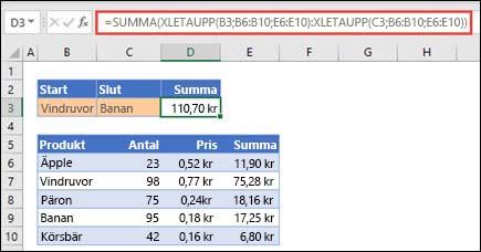 Använda XLETAUPP med SUMMA för att summera ett område med värden som ligger mellan två markeringar