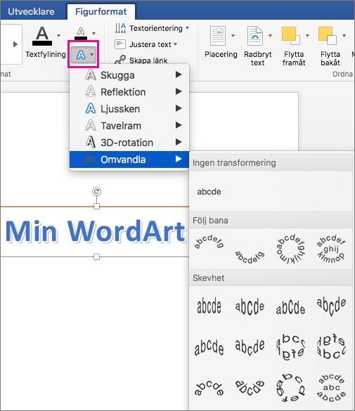 Fliken Figurformat med alternativet Texteffekter markerat.