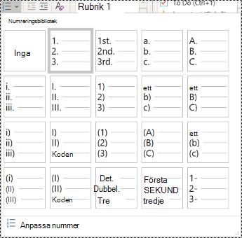 Skärmbild av alternativet Numrerad lista på Start-menyn.